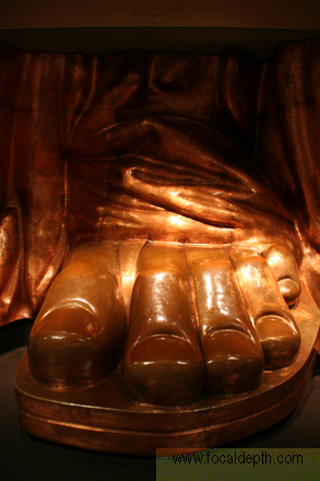 USA - Full size replica of Liberty's left foot on display inside the pedestel, Liberty Island, Upper New York Bay