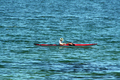 Abstract - Canoeist on Yellowstone Lake